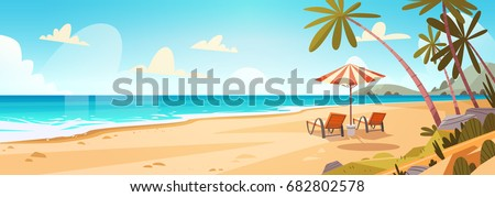 summer vacation loungers on sea