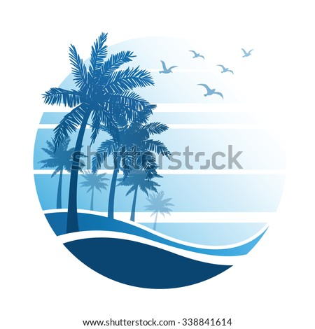 summer vacation on tropical beach Sunset, with Palm trees ,vector illustration