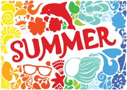 Summer vacation pattern elements and swirls. Hand-Drawn lettering. Vector illustration. EPS 10
