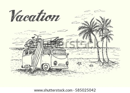 summer vacation scene with
