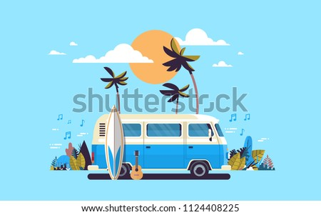 Summer vacation surf bus sunset tropical beach retro surfing vintage melody greeting card horizontal template poster flat vector illustration