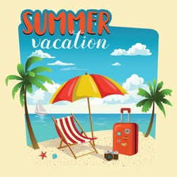 Summer vacation template poster, party, fun, travel, background, design. Vector illustration.