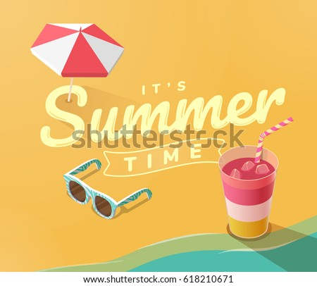 Summer vacation template with beach, sea, summer accessories, drink and sunglasses, vector illustration