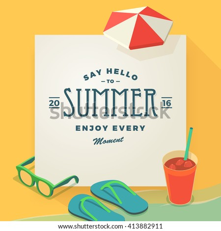 Summer vacation template with beach summer accessories, vector illustration