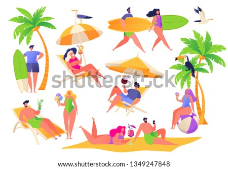 Summer vacation theme. Outdoor activity and rest on the beach. Set of active characters women and men, they relaxing on sun loungers and drinking cocktails, sunbathing and go surfing.