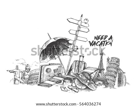 Summer vacation time holiday - travel concept, Hand Drawn Sketch Vector illustration.