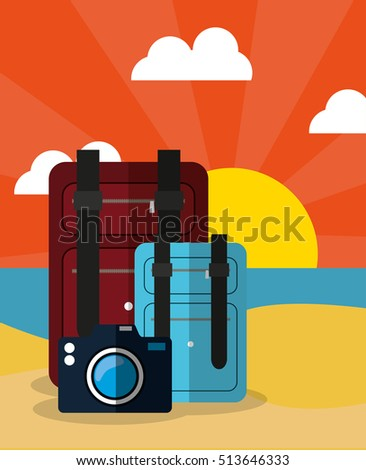 summer vacation travel icon vector illustration graphic design - Shutterstock ID 513646333