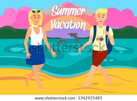 summer vacation travel postcard