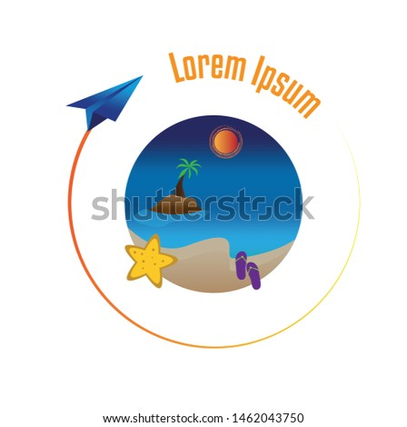 Summer vacation vector banner and logo design with circle for text and colorful beach elements. Direction for vacations way and muslims holiday text. Flying and paper airplane.