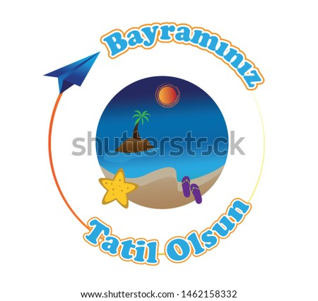 Summer vacation vector banner colorful beach, fly elements. Direction for vacations way and muslims holiday celebration.  Bayramınız tatil olsun means your holiday comes to vacation