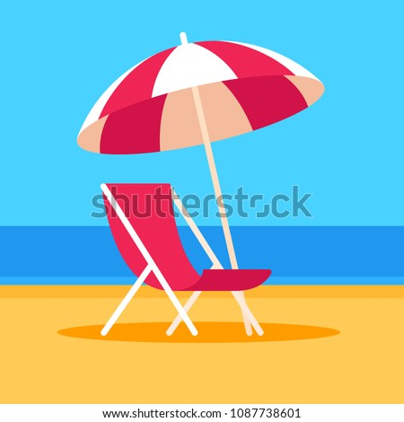Summer vacation vector illustration. Beach scene with umbrella and beach chair, flat cartoon style.