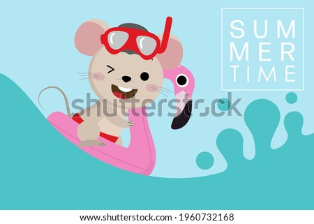 Summer vacation with cut mouse and pink flamingo swim rubber ring. Little rat and animal pool toys are swimming in the sea. Foto d'archivio ©