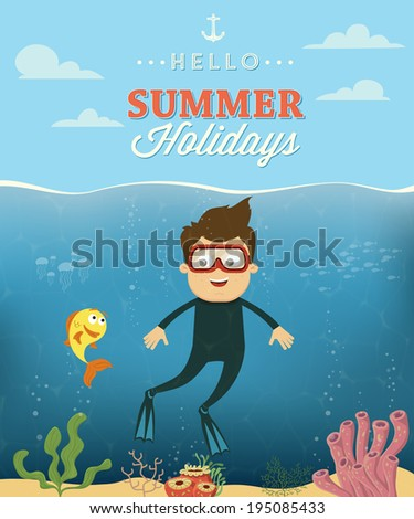 Summer vacation with diver character design Vector illustration