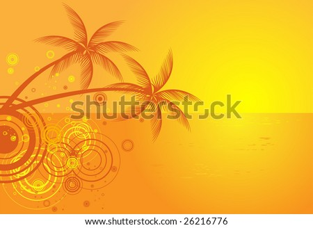 Summer vector background with tropical beach