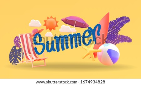 Summer vector banner design.with summer font surrounded by beach elements on orange background.