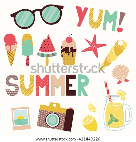 Summer vector clip art set. Funny cartoon objects and lettering: sunglasses, ice cream cones, seashells, camera, lemonade. Isolated on background.