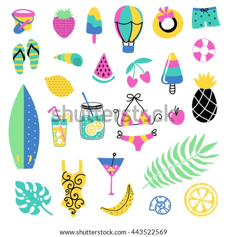 Summer vector elements collection. Colorful  hand drawn different items.