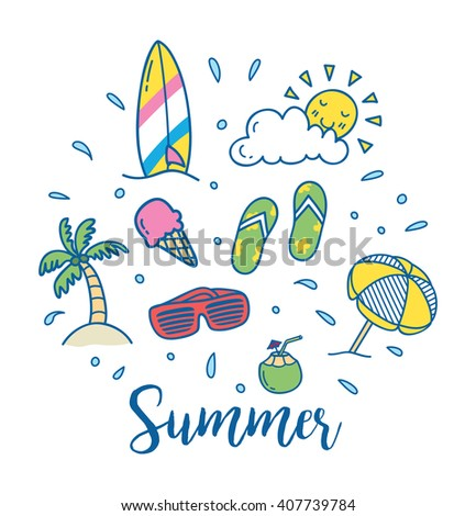 Summer vector icon in doodle style