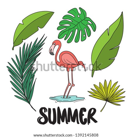 summer vector illustrtion filled outline