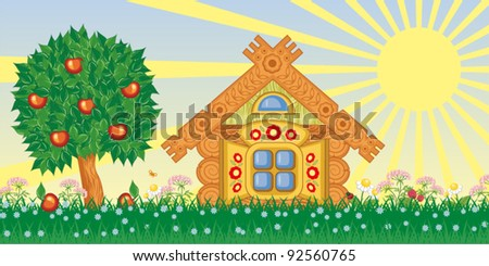 Summer vector landscape with house and tree