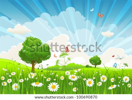 Summer vector landscape with trees and meadow of flowers eps10