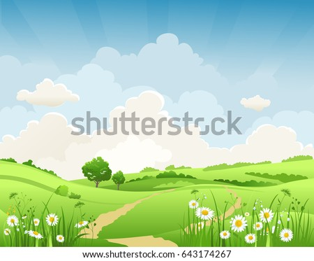 Summer vector landscape with trees and meadow of flowers. Sky, green grass and butterflies. #643174267