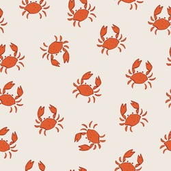 summer vector pattern cute childish kids pattern design crabs sea mew sea gull wrapping paper design background fun fabric seamless animal marine nautical naive wallpaper  art illustration beach