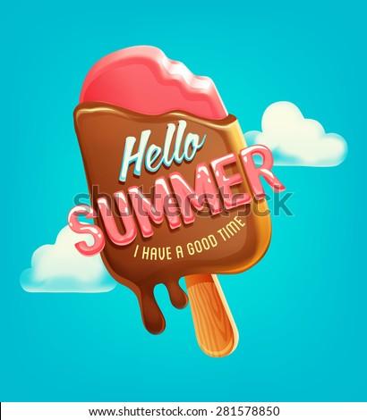 summer vector poster  label
