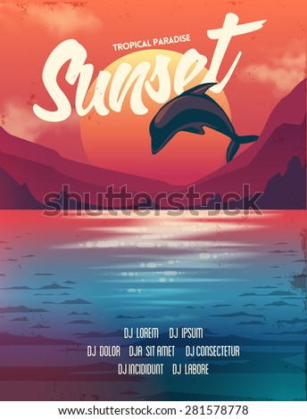summer vector poster sunset