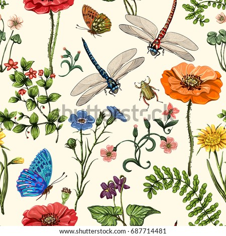Summer vector seamless pattern. Botanical wallpaper. Plants, insects, flowers in vintage style. Butterflies, dragonflies, beetles and plants in the style of Provence. Drawn nature wallpaper. Summer