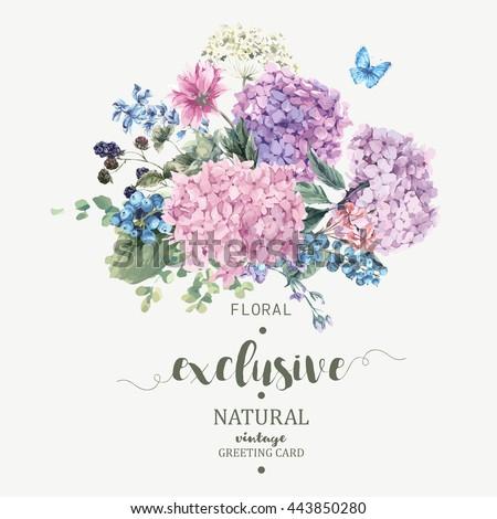 summer vintage floral greeting