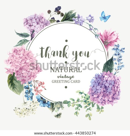 Shutterstock Summer Vintage Floral Greeting Card with Blooming Hydrangea and garden flowers, Thank you botanical natural hydrangea Illustration on white in watercolor style.