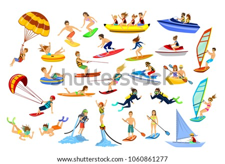 Summer water beach sea sports activities. active people, man, woman, couple, family windsurfing, surfing, jet ski, stand up paddleboard, snorkel, scuba dive, tubing, ride speed boat and banana float