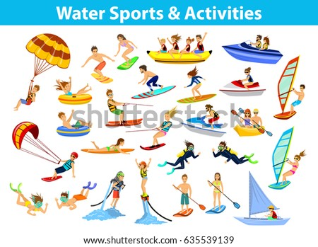 Summer water beach sports, activities set. People man woman family windsurfing, surfing, jet water skiing, paddleboarding, tubing, ride banana float, parasailing, wakeboarding, kitesurfing,