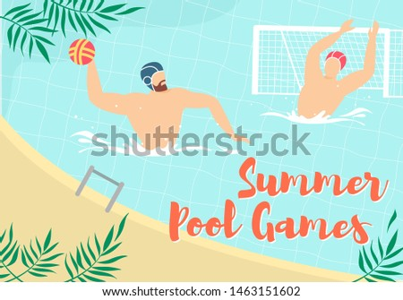 Summer Water Polo Competition, Game or Training with Sportsmen Playing with Ball in Swimming Pool. Sport, Healthy Lifestyle Activity, Championship Tournament Cartoon Flat Vector Illustration, Banner