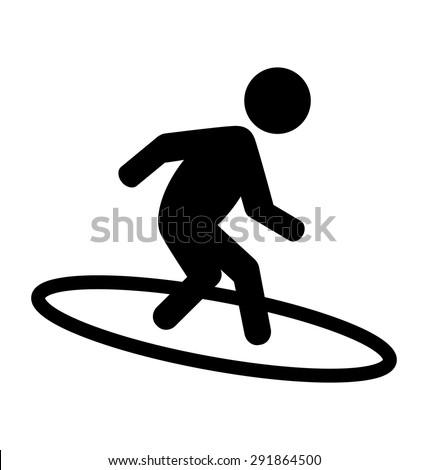 Summer Water Sport Surfing Pictograms Flat People Icons Isolated on White Background