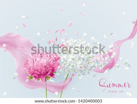 Summer wind - luxurious white vector Hydrangea flower and Apple blossom with flying petals and pink ribbon in watercolor style for 8 March, wedding, Valentine's Day,  Mother's Day, seasonal sales