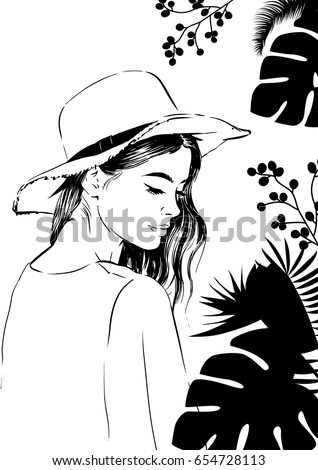 summer woman in hat