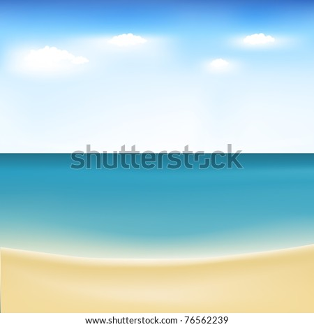 Summertime At Beach, Vector Illustration