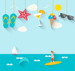 Summertime background with hanging summer icons, sea, surfer, boat, vector illustration.