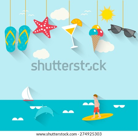 Shutterstock Summertime background with hanging summer icons, sea, surfer, boat, vector illustration.