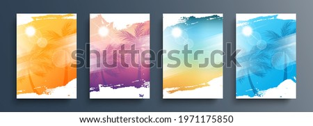 Summertime backgrounds set with palm trees, summer sun and brush strokes for your graphic design. Sunny Days. Vector illustration. Zdjęcia stock ©