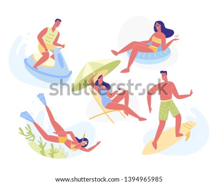 Summertime Leisure and Holiday Activities Set Isolated on White Background. Young Man and Woman Snorkeling, Diving, Water Bike Driving, Sun Bathe, Surfing, Swimming. Cartoon Flat Vector Illustration.