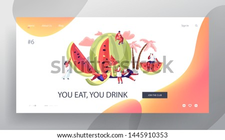 Summertime Leisure, Beach Party Website Landing Page, Tiny Characters with Huge Watermelon Enjoying Summer Vacation, Holidays, Eating Ice Cream, Web Page. Cartoon Flat Vector Illustration, Banner