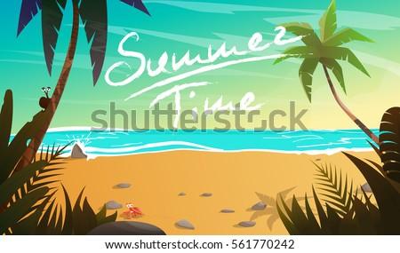 Summertime on the beach. Palms and plants around.Cartoon vector illustration. Summer vacation on sea coast