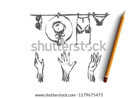 hand drawn women s clothing vectors download free vector art