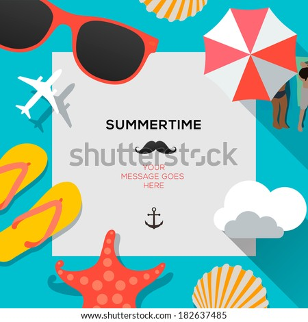 Shutterstock Summertime traveling template with beach summer accessories, vector illustration.