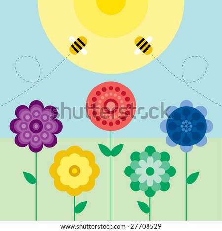 summery flowers and bees on a