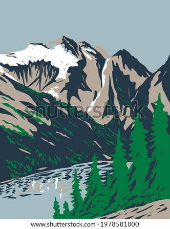 Summit of Mount Triumph in Cascade Range Located in Northern Cascades National Park in Washington WPA Poster Art Stock photo ©