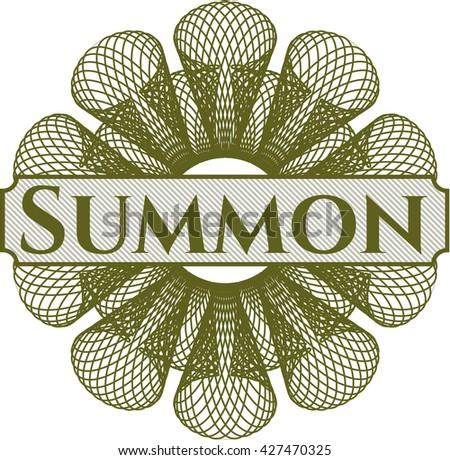 Summon written inside a money style rosette
